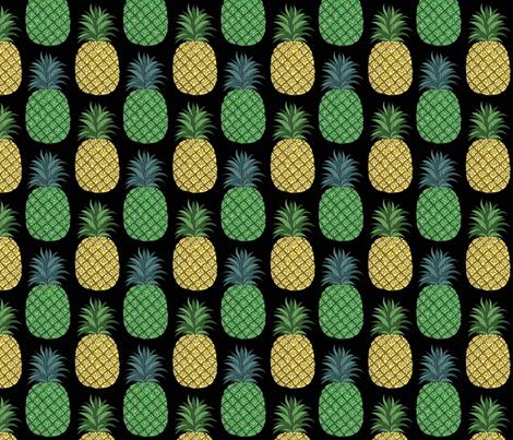 pineapple_pair_black_4x4 fabric by leroyj on Spoonflower - custom fabric