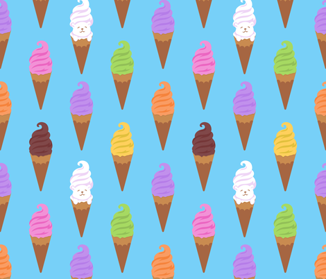 Seamless pattern with colorful gelatoes and waffle cone on the blue background. fabric by ybt on Spoonflower - custom fabric