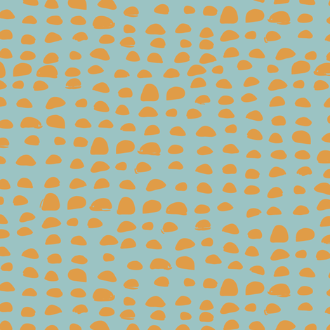 Pebbles in teal and yellow fabric by lburleighdesigns on Spoonflower - custom fabric