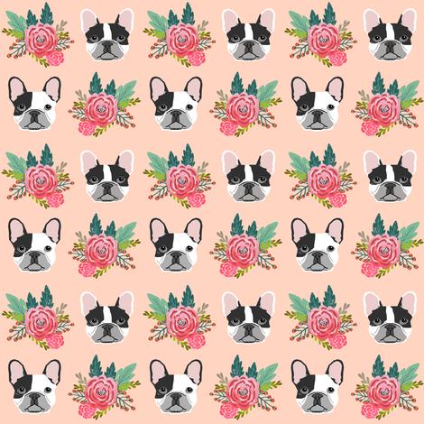French Bulldog cute head flowers florals girls sweet baby nursery dogs fabric by petfriendly on Spoonflower - custom fabric