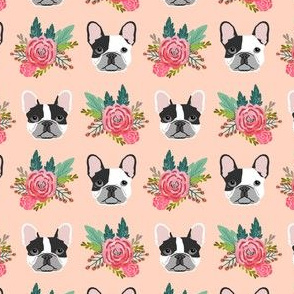 French Bulldog cute head flowers florals girls sweet baby nursery dogs