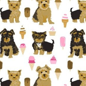 Yorkie yorkshire terrier ice cream funny novelty dog dogs pet dog owners must have fabrics for dog quilts