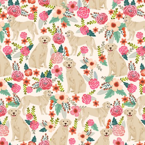Golden Retriever, dog dogs, florals, flowers, cute nursery baby girls pastel mint all  over dog print fabric by petfriendly on Spoonflower - custom fabric