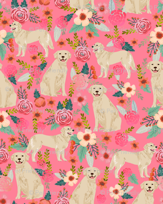 Golden Retriever fabric, dog dogs, florals, flowers, cute nursery baby girls pastel mint all  over dog print