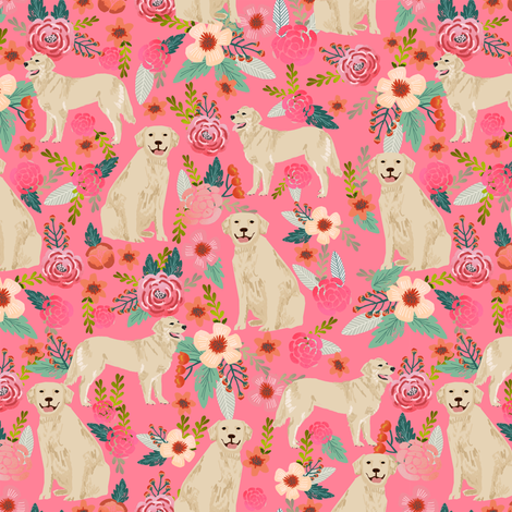 Golden Retriever fabric, dog dogs, florals, flowers, cute nursery baby girls pastel mint all  over dog print fabric by petfriendly on Spoonflower - custom fabric