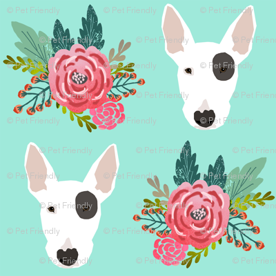 Bull Terrier floral flowers bull terriers fabric cute nursery baby girls fabric