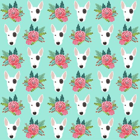 Bull Terrier floral flowers bull terriers fabric cute nursery baby girls fabric fabric by petfriendly on Spoonflower - custom fabric
