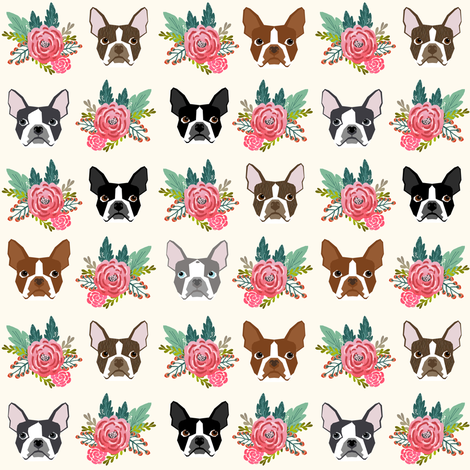 Boston Terrier heads florals, flowers cute dog dogs, pet dog faces fabric by petfriendly on Spoonflower - custom fabric