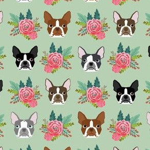 Boston Terrier heads florals, flowers cute dog dogs, pet dog faces