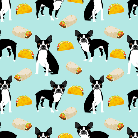 Boston Terrier Tacos, food, novelty, tacos, mexican food, cute dog, dogs, funny dog print fabric by petfriendly on Spoonflower - custom fabric