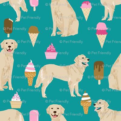 Golden Retriever, golden, dog, ice cream summer, ice creams, funny, food, cute dog fabric