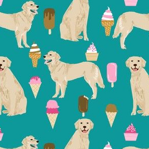 Golden Retriever, golden, dog, ice cream summer, ice creams, funny, food, cute dog fabric