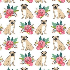 Pug flowers, florals, bouquet, painted floral, pug dog, pugs, pug, girls nursery baby