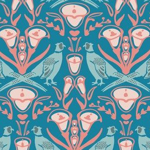 Damask pheasants in blue