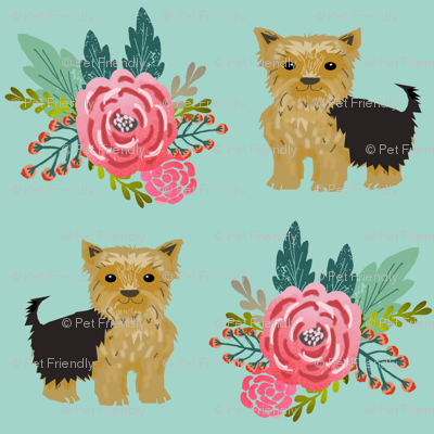 Yorkie flowers florals, yorkshire terrier, yorkies, cute yorkie fabric for dog owners yorkie owner must  have fabric accessories for dogs