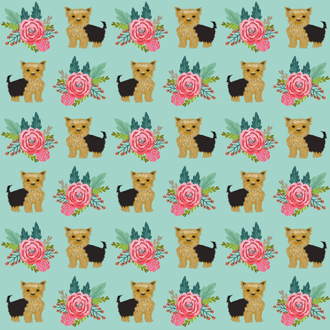 Yorkie flowers florals, yorkshire terrier, yorkies, cute yorkie fabric for dog owners yorkie owner must  have fabric accessories for dogs fabric by petfriendly on Spoonflower - custom fabric