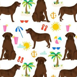 Chocolate Labrador retriever, chocolate lab, labrador, dog, beach, summer cute, pet dogs, beach fabric for lab owners, dog owners preppy dogs