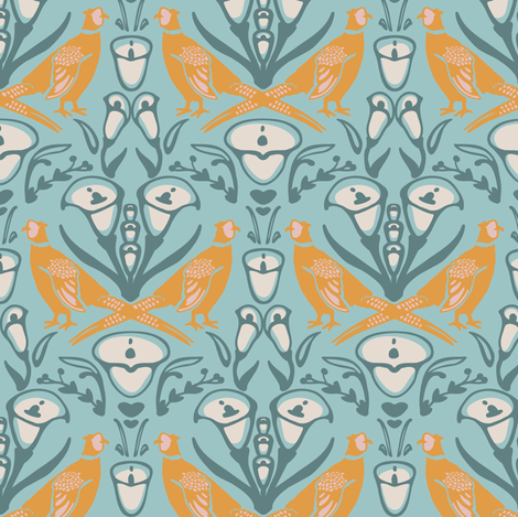 Damask Pheasants in teal and yellow fabric by lburleighdesigns on Spoonflower - custom fabric