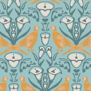 Damask Pheasants in teal and yellow