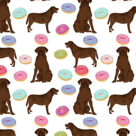 Chocolate Labrador, labrador retriever, chocolate lab dog, cute donuts, funny dog food, foods, novelty dog print fabric by petfriendly on Spoonflower - custom fabric