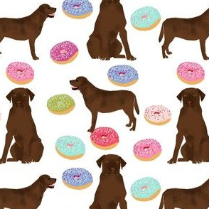 Chocolate Labrador, labrador retriever, chocolate lab dog, cute donuts, funny dog food, foods, novelty dog print