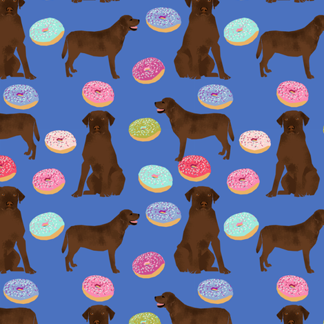 Chocolate Labrador, labrador retriever, chocolate lab dog, cute donuts, funny dog food, foods, novelty dog print fabric by petfriendly on Spoonflower - custom fabric