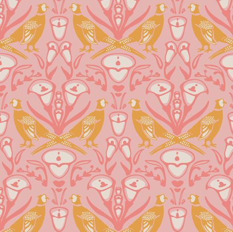 Damask pheasants in pink fabric by lburleighdesigns on Spoonflower - custom fabric