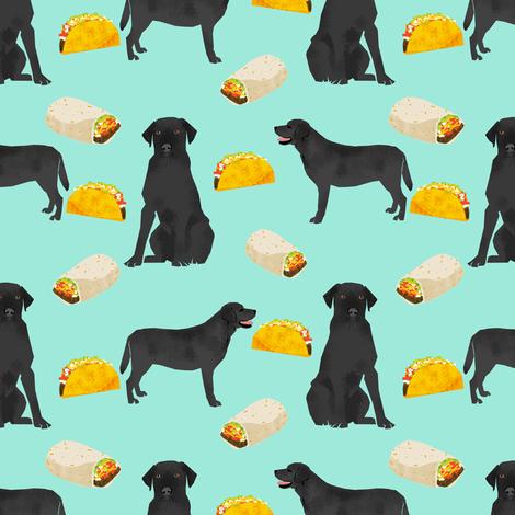 Black Labrador, tacos, food, black lab, labrador retriever, food, novelty dog print for lab owners, cute dogs dog print fabric by petfriendly on Spoonflower - custom fabric