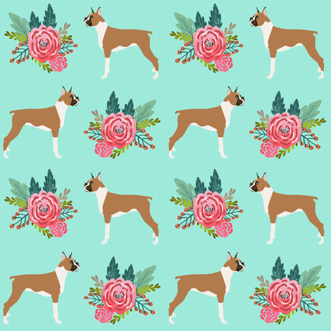 Boxer with flowers, boxer dogs, boxer, cute dog flowers, florals, pet dog, boxer owners will love this floral girly trendy sweet nursery baby print fabric by petfriendly on Spoonflower - custom fabric