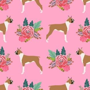 Boxer with flowers, boxer dogs, boxer, cute dog flowers, florals, pet dog, boxer owners will love this floral girly trendy sweet nursery baby print