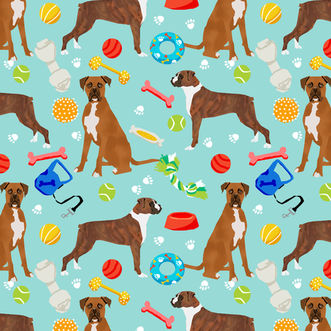 Boxer Dog toys, toys, dog boxer, cute dogs, best boxer dog fabric for boxer owners, dog toys,  fabric by petfriendly on Spoonflower - custom fabric