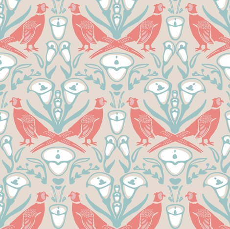 Damask Pheasants fabric by lburleighdesigns on Spoonflower - custom fabric