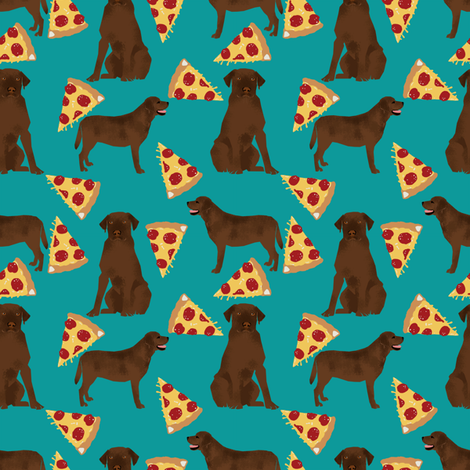 Chocolate labrador, labrador retriever, lab, chocolate lab, pizza, food, pizzas, novelty, foods fabric by petfriendly on Spoonflower - custom fabric