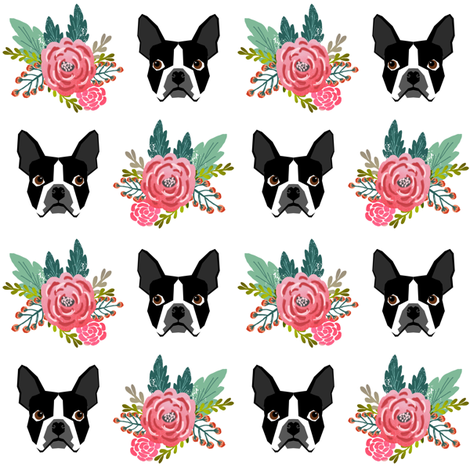 boston terrier floral heads cute girls spring flower floral bud pet dog dogs cute fabrics fabric by petfriendly on Spoonflower - custom fabric