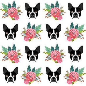 boston terrier floral heads cute girls spring flower floral bud pet dog dogs cute fabrics