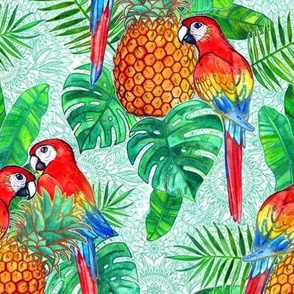 Pineapples and Parrots Tropical Summer Pattern large version