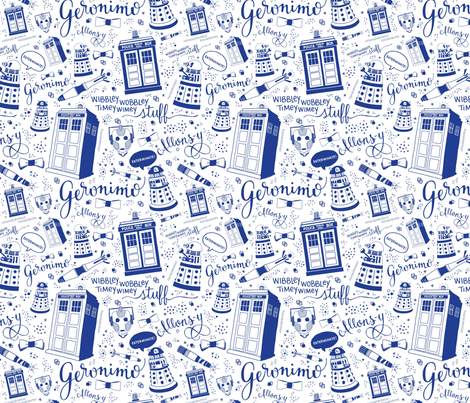 The Doctor: Blue 45% of full size fabric by cherilyncolbert on Spoonflower - custom fabric