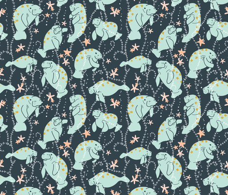 Oh, the Hue-Manatee  Large fabric by spottedpepperdesigns on Spoonflower - custom fabric