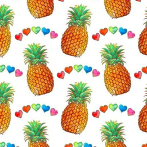 Happy Summer Pineapples and Rainbow Hearts