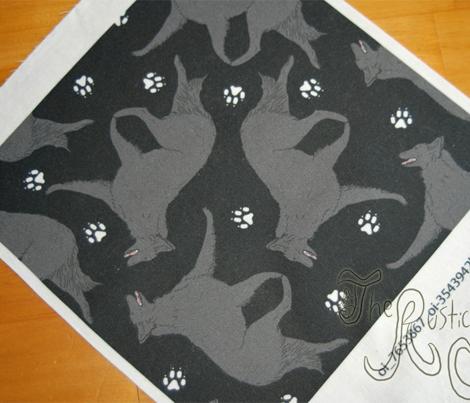 Trotting Belgian Sheepdog and paw prints - black