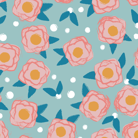 Flower POP blues fabric by lburleighdesigns on Spoonflower - custom fabric