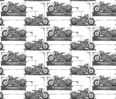 "Graphite Motorcycles Small (4"") fabric by twobloom on Spoonflower - custom fabric"