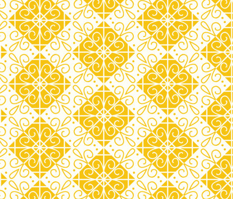 Yellow Tiles fabric by taylorshannon on Spoonflower - custom fabric
