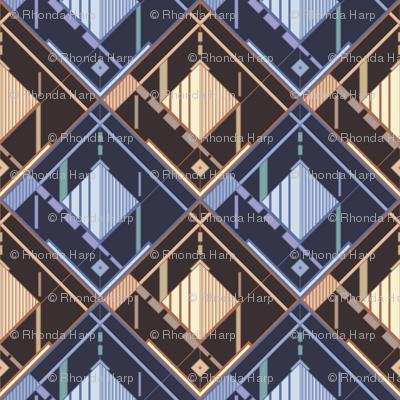 Disco Shirt Pattern Brown Navy 01-ed