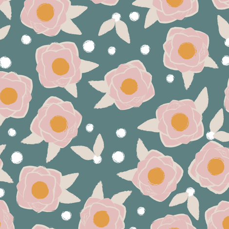 Flower POP green fabric by lburleighdesigns on Spoonflower - custom fabric