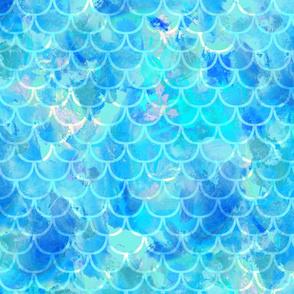 Mermaid Scale Fabric in Medium Blue