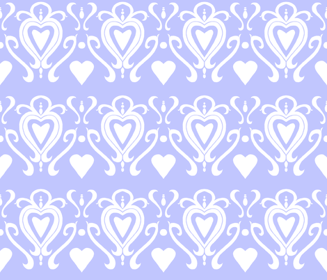 Heart Damask 4- Blue fabric by essieofwho on Spoonflower - custom fabric