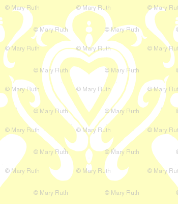 Heart Damask 4- Yellow