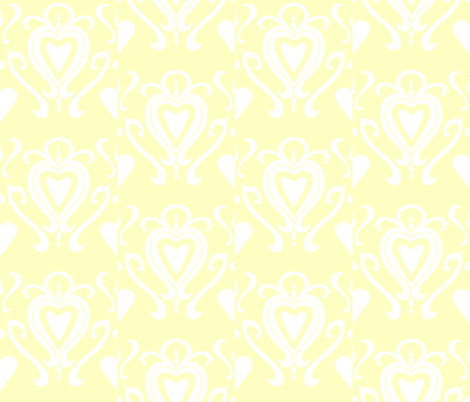 Heart Damask 4- Yellow fabric by essieofwho on Spoonflower - custom fabric