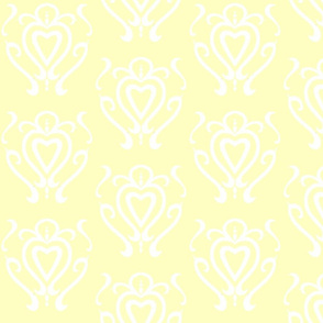 Heart Damask 3- Yellow